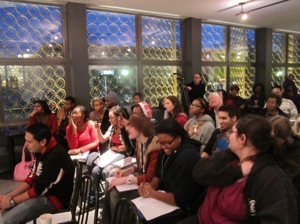 The crowd at the SPEAK Cafe in March.