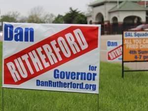 A campaign sign outside Springfield's American Legion Post 32. Inside, state Treasurer Dan Rutherford was speaking to supporters, formally launching his campaign for governor.