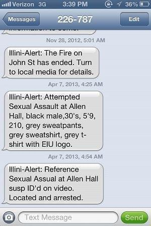 Screen shot of The University of Illinois' opt-in system - Illini Alerts - as it appears in a text message.