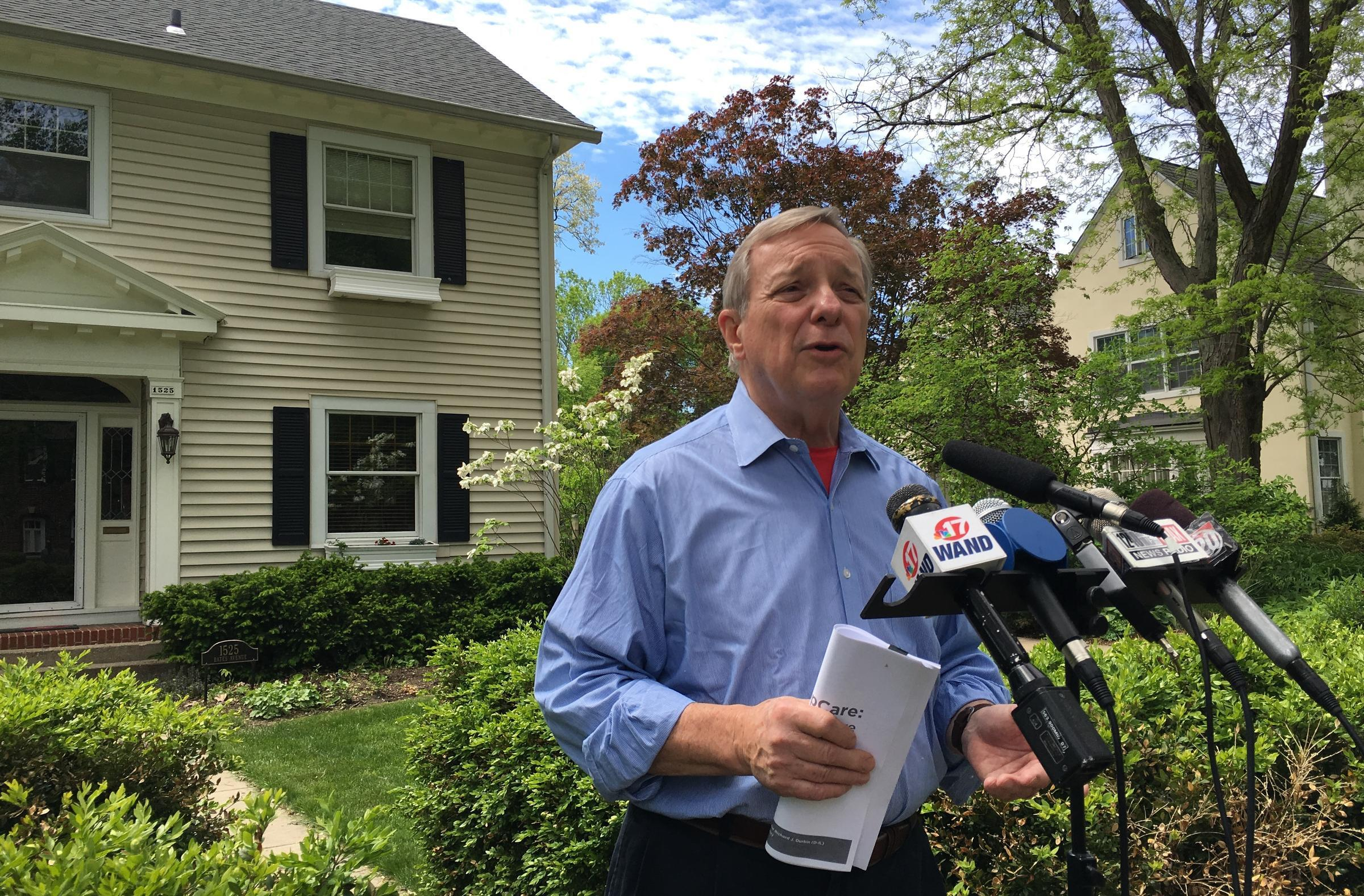 Illinois U.S. Senator Dick Durbin speaks to reporters outside his home in Springfield in this file photo from 2017.