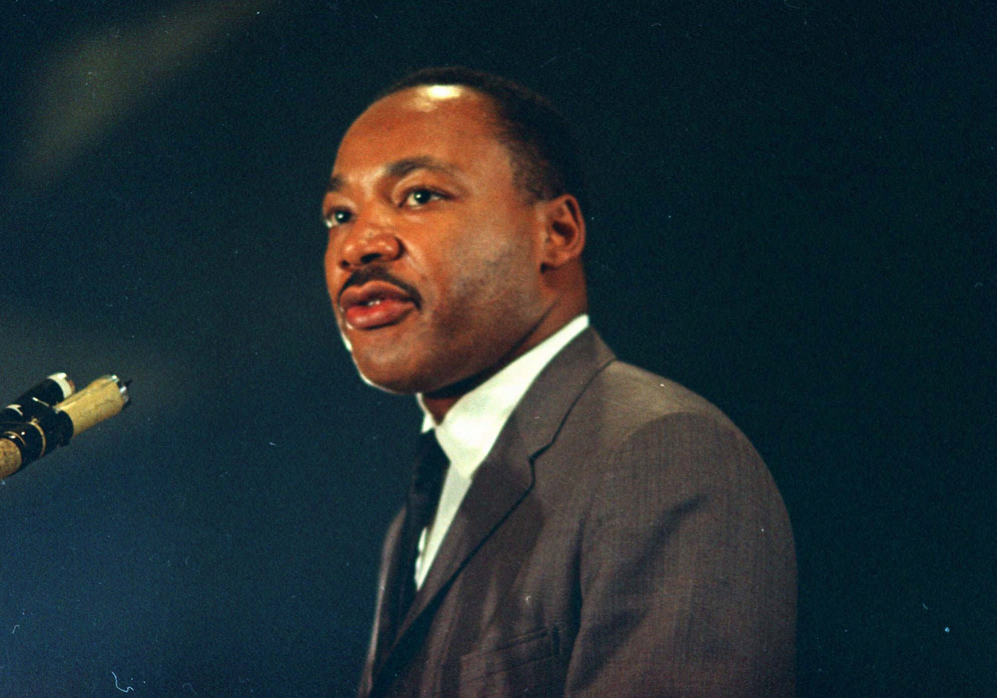 Dr. Martin Luther King speaks March 25, 1967 at the Chicago peace march.