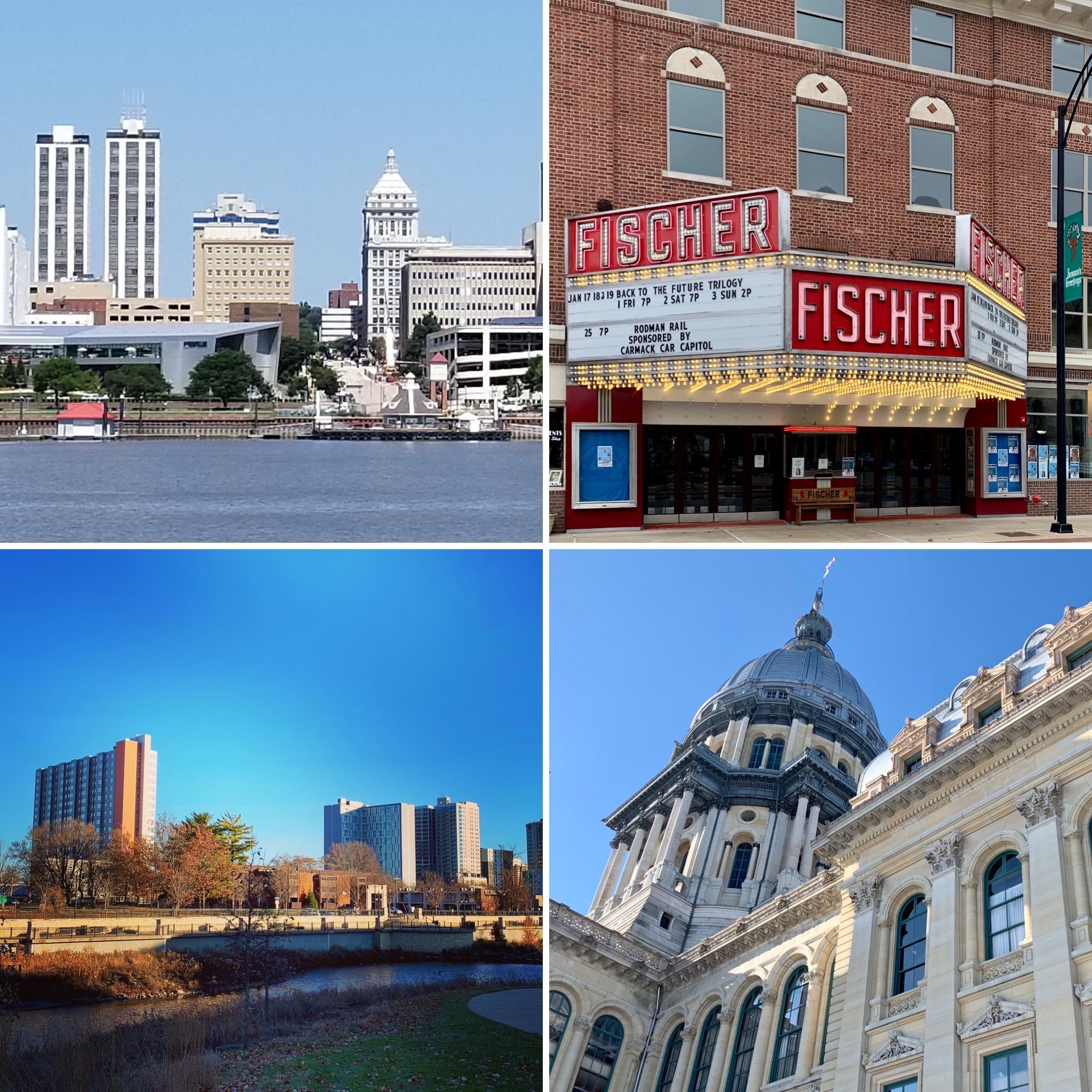 Upper left square: Peoria, upper right square: Danville, lower left square: Champaign, lower right square: State Capitol in Springfield