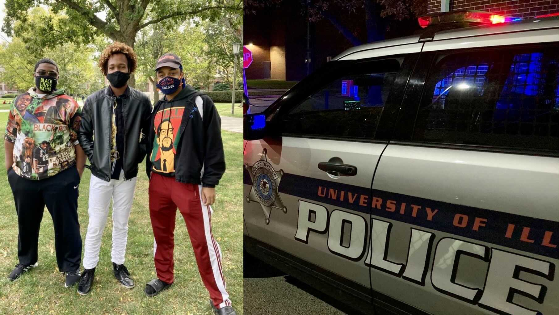 From left to right: Latrel Crawford, William Burke, Leojae Bleu Steward, all seniors at the University of Illinois' Urbana campus, are advocating for the defunding and abolishment of the University of Illinois Police Department, saying the officers target students of color.
