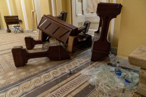 Damage is visible in the hallways in the early morning hours of Thursday, Jan. 7, 2021, after protesters stormed the Capitol in Washington, on Wednesday.
