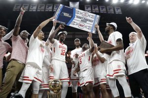 Members of Bradley celebrate after defeating Valparaiso 80-66 during an NCAA college basketball game in the championship of the Missouri Valley Conference men's tournament Sunday, March 8, 2020, in St. Louis.