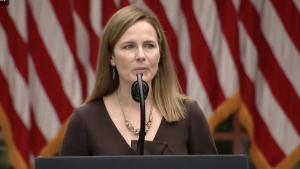 Judge Amy Coney Barrett speaks to a news conference after being announced as President Donald J. Trump's nominee to the Supreme Court, in the Rose Garden at the White House, Saturday, Sept. 26, 2020, in Washington.