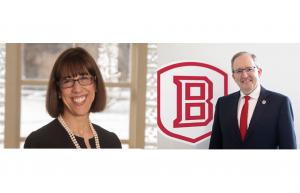 (L): Knox College Pres. Teresa Amott, (R): Bradley Univ. Stephen Standifird
