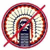 Chief Illiniwek logo with a red slash drawn through it