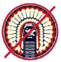 Chief Illiniwek logo with a red slash drawn through it