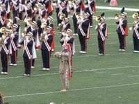 Chief Illiniwek performing with the University of Illinois Band