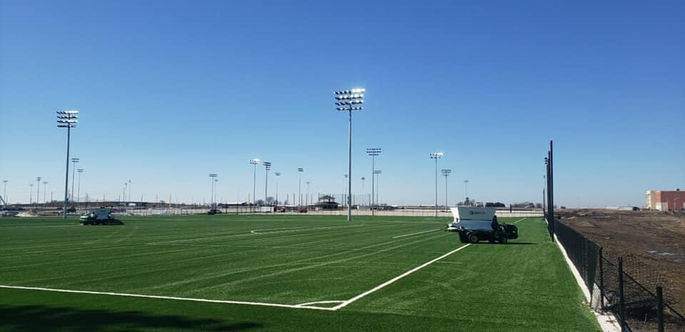 One of the soccer fields at the Rantoul Family Sports Complex, scheduled to open in April.