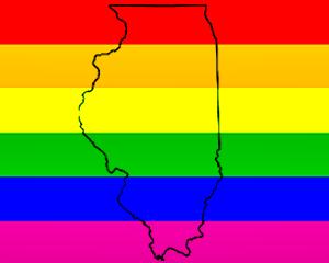 Rainbow Flag With Illinois Outline