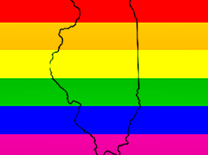 Rainbow Flag With Illinois Outline