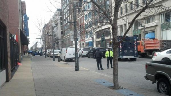 The scene outside the Stevens Institute of Business And Arts where a shooting has been reported.