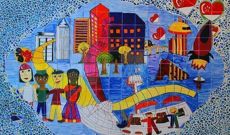 a mural of  people living in community