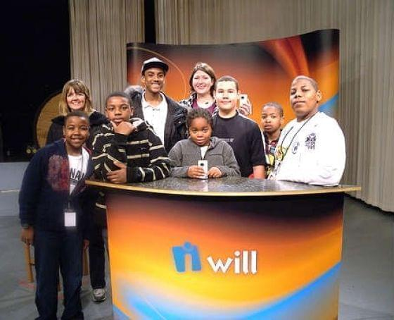 young media producers on the set at WILL-TV