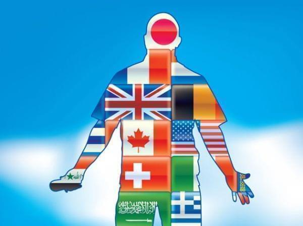 Drawing of a person with many flags covering his body