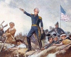 Painting of the Battle of New Orleans with Andrew Jackson standing amid the battle