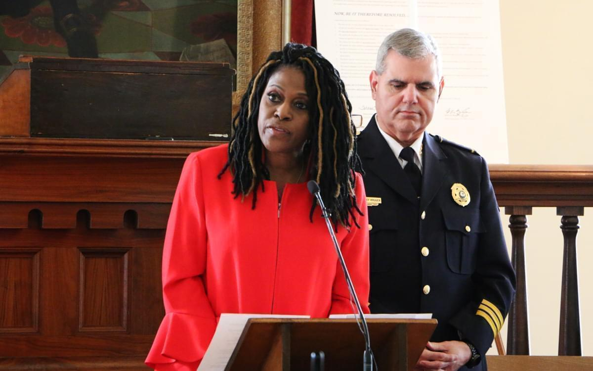 "Teresa Haley, president of the Illinois Chapter of the NAACP, talks about ""the 10 Principles"" agreement with the Illinois Association of Chiefs of Police in an event at the Old State Capitol in Springfield on March 22, 2018."