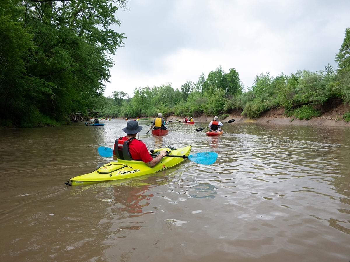 kayakers floating on the Middle Fork River