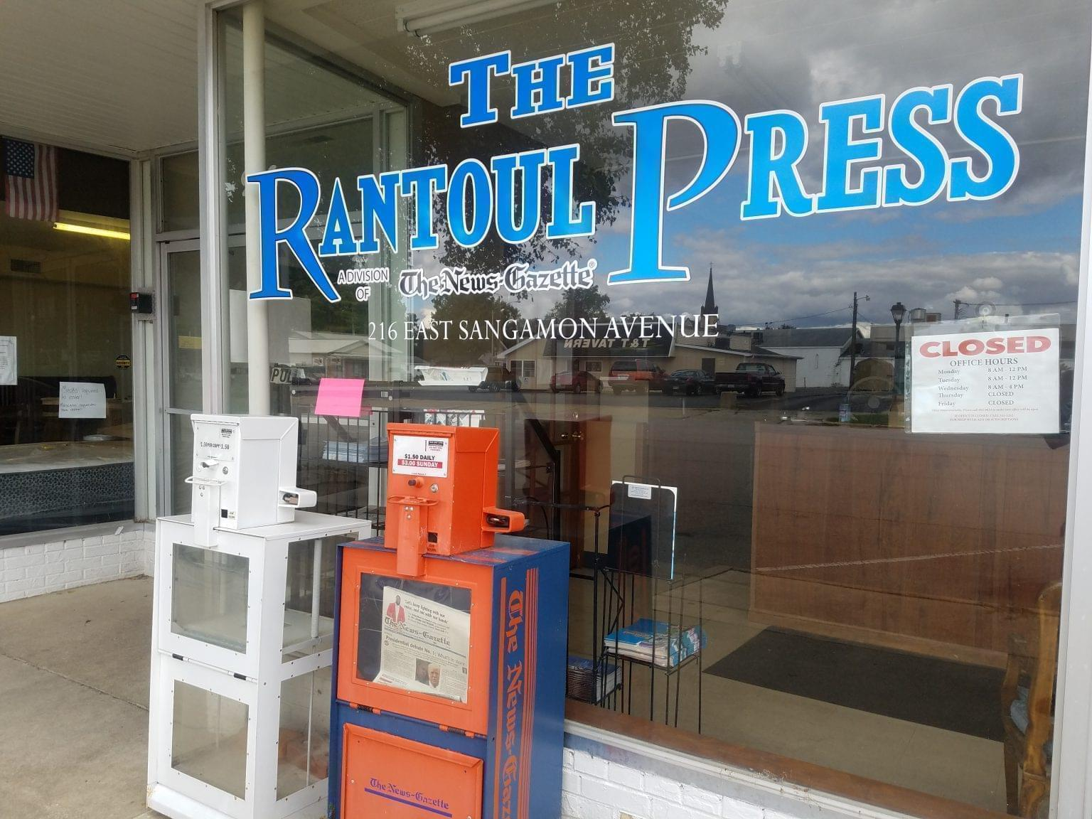 Storefront office for the Rantoul Press in downtown Rantoul.