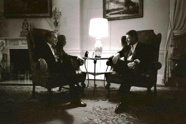 Former President Richard Nixon visits with President Bill Clinton in the family quarters of the White House