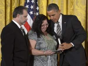 President Obama honors slain Sandy Hook teacher Victoria Soto.