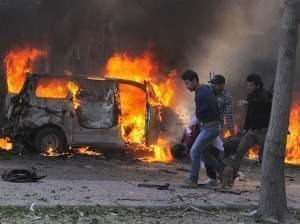 bomb explosion site in syria
