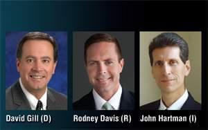 Democrat David Gill, Republican Rodney Davis, Independent candidate John Hartman