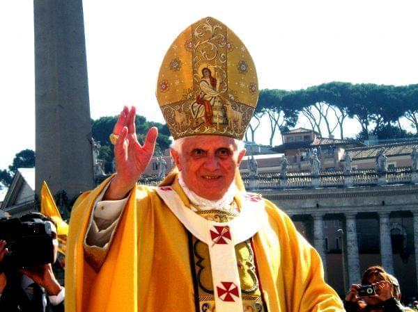Pope Benedict XVI performing a blessing during the canonization mass in St. Peter's Square in Rome, Italy on Sunday October 12, 2008.