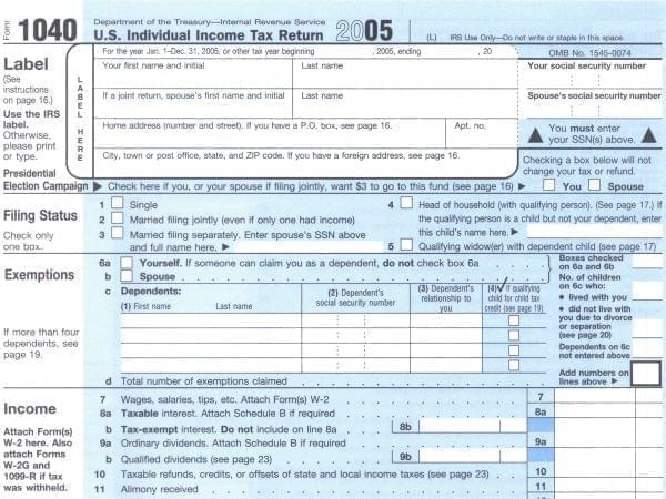 1040 tax form from 2005