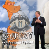 Squeezy, Illinois' pension python, was introduced by governor Pat Quinn last year.