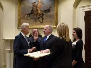 Vice President Joe Biden swears in CIA Director John Brennan