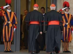 Cardinals gathered in Vatican City on Monday, a day before the papal selection process known as the conclave begins.