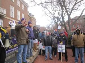 SEIU Local 73 rallies on the last day of its strike in 2013.