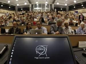 A computer screen is pictured prior to a scientific seminar to deliver the latest update in the search for the Higgs boson at the European Organization for Nuclear Research (CERN) in Meyrin near Geneva, Switzerland, Wednesday, July 4, 2012.
