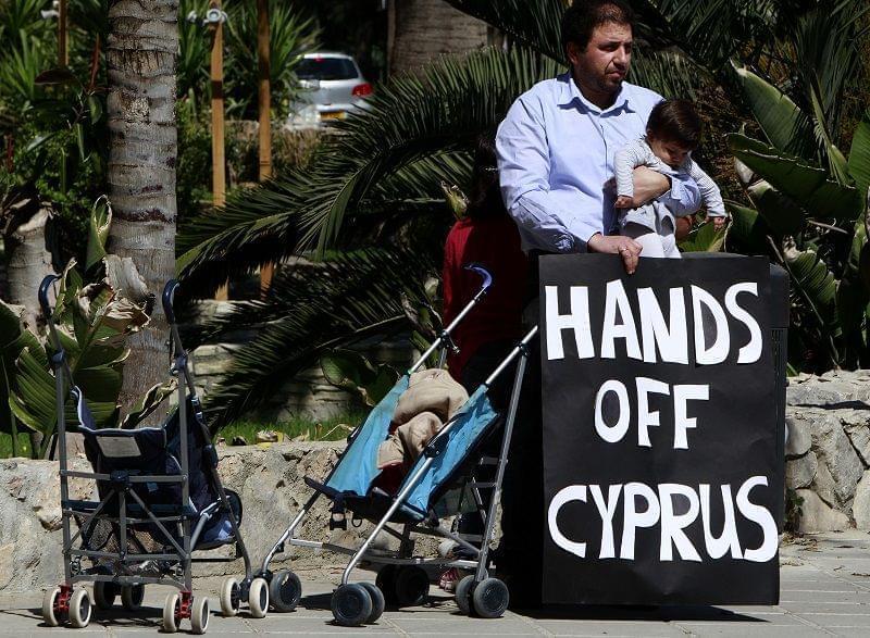 protestor in Cyprus