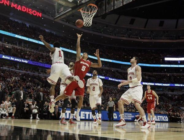Wisconsin's Ryan Evans during the first half of an NCAA college basketball game against Indiana at the Big Ten tournament Saturday, March 16, 2013, in Chicago.