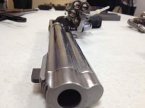 A handgun is on display during a seminar on gun violence in Springfield, Ill.