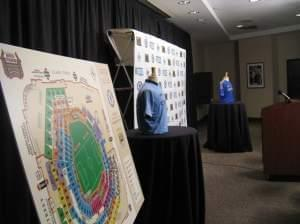 The jerseys of Manchester City (left) and Chelsea (right) at Busch Stadium on March 29. The teams will play an exhibition game at the stadium on May 23.