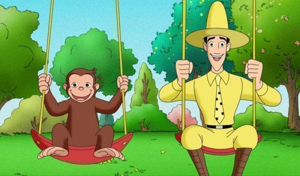 Curious George and the Man with the Yellow Hat on a swingset