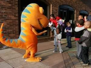 Buddy greets fans at the Parkland Planetarium