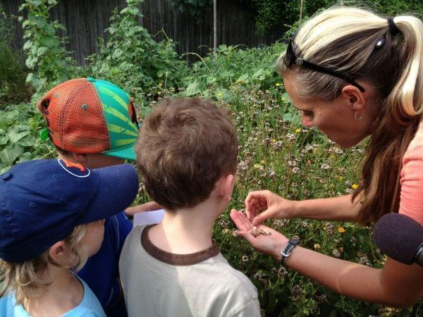 A woman showing young children how to harvest flower seeds
