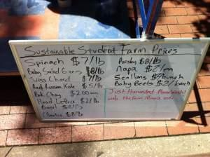 A sign at a farmers market
