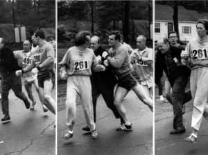 The 1967 Boston Marathon Race Commissioner trying to pull Kathrine from the race course.