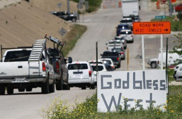"A ""God Bless West"" sign in West, Texas, Friday April 19, 2013."