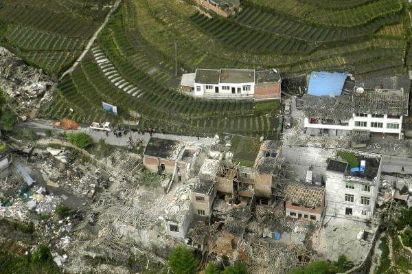This aerial photo released by China's Xinhua news agency shows destroyed houses after a powerful earthquake hit Taiping town of Lushan County in Ya'an City, southwest China's Sichuan Province, Saturday, April 20, 2013. The powerful ear