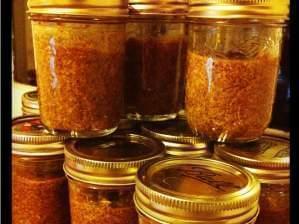 Several jars of homemade mustard.