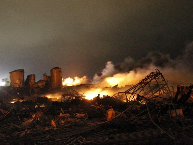 The remains of the fertilizer plant that exploded in the town of West, Texas, on April 17.
