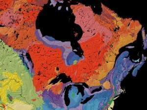 This map, from the United States Geological Survey, shows the age of bedrock in different regions of North America.